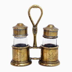 Salt and Pepper Set in Solid Brass, 1950s