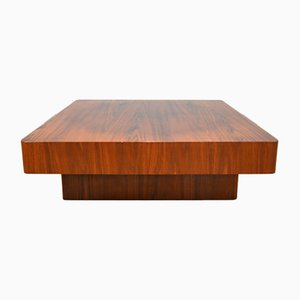 Large Square Walnut Coffee Table, 1970s