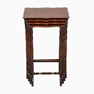 Antique Mahogany Nesting Tables, Set of 4