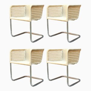 Mid-Century Italian Modern Chrome Steel and Woven Wicker Outdoor Chairs, 1970s, Set of 4
