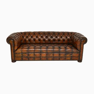Deep Buttoned Leather Chesterfield Sofa, 1930s