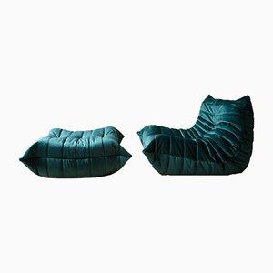 Juego de sillón y otomana Togo vintage de terciopelo verde azulado de Michel Ducaroy para Ligne Roset, años 70