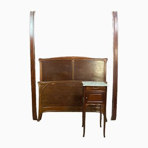 Antique Daybed & Bedside Table, Set of 2