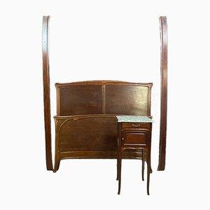 Divan et Table de Chevet Antique, Set de 2