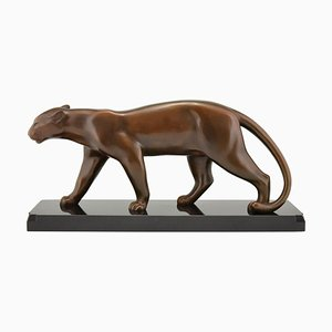 Art Deco Bronze Panther Sculpture by Emile Louis Bracquemond for Bracquemond, 1930s