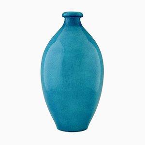 Blue Crackled Ceramic Vase by Charles Catteau for Boch Frères, 1924