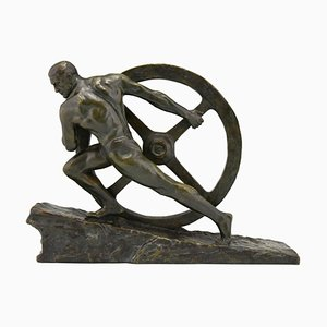 Art Deco Bronze Sculpture, Athlete Pushing a Wheel, by Pierre Le Faguays, 1930s
