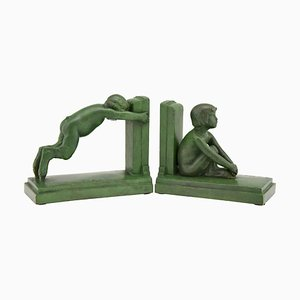Boy & Girl Bronze Bookends by Paul Silvestre for Susse Freres, 1920s, Set of 2