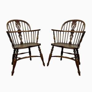 Antique Windsor Dining Chairs, Set of 2