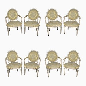 Louis XVI Lacquered Gilt Armchairs, Set of 8