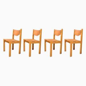 Leder Esszimmerstühle, 1970er, 4er Set