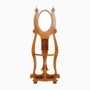 Antique Art Nouveau Light Oak Hall Stand