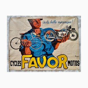 Vintage Cycles Motos Advertising Banner by Jacques and Pierre Bellenger for Favor