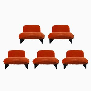 Vintage Orange Fabric & Wood Modular Lounge Chairs, 1970s, Set of 5