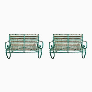 Antique Strap Iron Slatted Benches, Set of 2