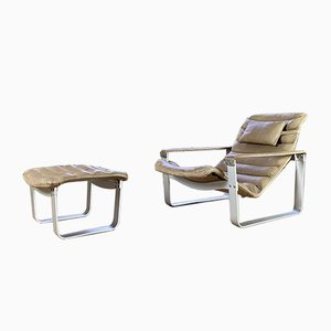 Pulka Chair & Ottoman by Ilmari Lappalainen for Asko, 1960s, Set of 2