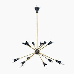 Vintage Brass & Metal 12-Light Sputnik Ceiling Lamp, 1950s