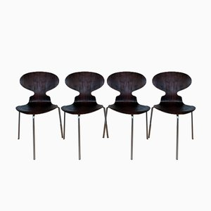 Sedie Ant vintage in palissandro di Arne Jacobsen per Fitz Hansen, set di 4