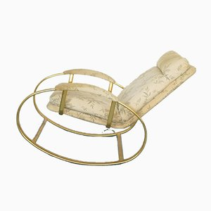 Vintage Golden Metal Rocking Chair by Guido Faleschini, 1950s