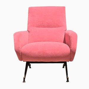 Mid-Century Italian Pink Velvet Armchair with Metal Structure, 1950s