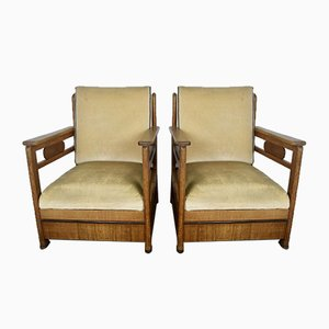 Art Deco Amsterdam School Armchairs, 1930s, Set of 2