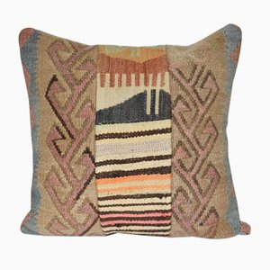 Turkish Flat-Weave Patchwork Kilim Rug Cushion Cover with Modern Style