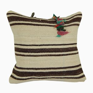 Turkish Rustic Organic Hemp Kilim Cushion Cover