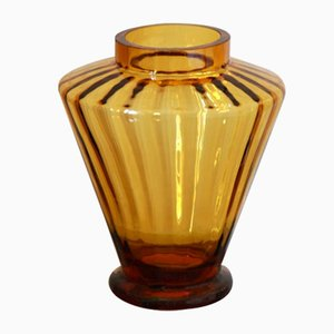Vintage Ambra Amber Murano Glass Vase, Italy, 1960s