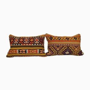 Turkish Lumbar Kilim Cushion Covers, Set of 2