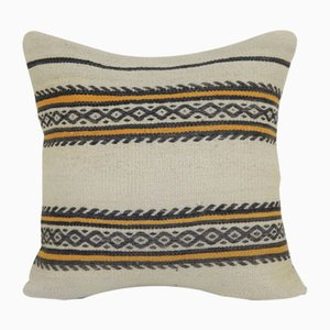 Turkish Handmade Striped Hemp Kilim Cushion Cover