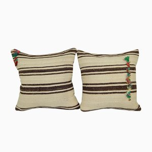 Turkish White Hemp Kilim Cushion Covers, Set of 2
