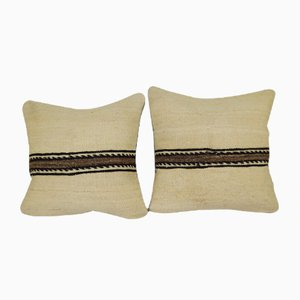 Turkish Organic Hemp Kilim Cushion Covers, Set of 2