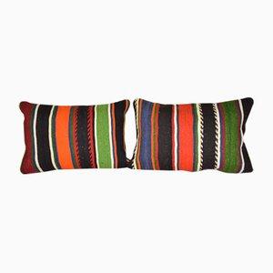 Turkish Striped Kilim Cushion Covers, Set of 2