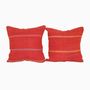 Turkish Striped Kilim Cushion Covers, Set of 2