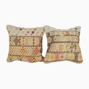 Turkish Organix Kilim Cushion Covers, Set of 2