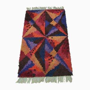 Großer Handgemachter Kubistischer Handgemachter Rya Teppich, 1960er