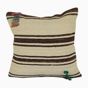 Turkish Embroidered Organic Hemp Kilim Cushion Cover