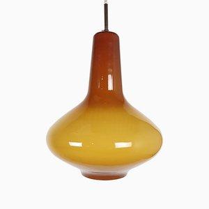 Lampe à Suspension Ocre en Verre par Massimo Vignelli pour Venini, 1950s