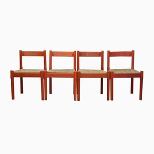 Red Carimate Dining Chairs by Vico Magistretti, 1970s, Set of 4