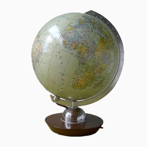 Vintage Illuminated Glass 24 cm Globe from JRO-Verlag, 1960s