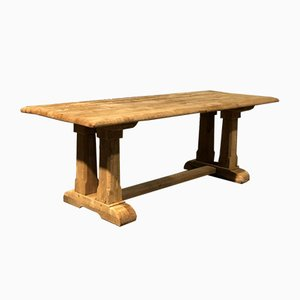 Rustic French Bleached Oak Farmhouse Refectory Dining Table