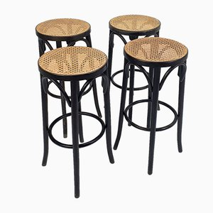 Mid-Century Cane & Bentwood Stools by Michael Thonet, Set of 4
