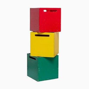 Quadratische Holz Aufbewahrungsboxen, 1950er, 3er Set