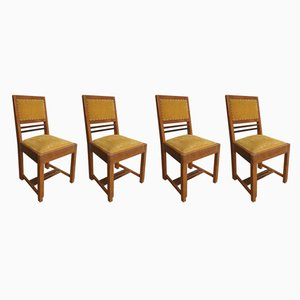 Dutch Oak Yellow Dining Chairs, 1920s, Set of 4