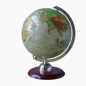 Vintage Illuminated Glass Topographical 24 cm Globe with Pagwood Base from JRO-Verlag, 1960s