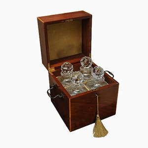 Victorian Sheraton Revival Mahogany Decanter Box with 4 Atlantis Decanters, 1800s