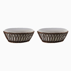 Wicker and Bouclé Ottomans, 1960s, Set of 2
