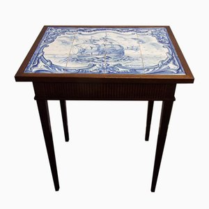 Tiled Lamp Table with Ship Painting in Shades of Blue from SantAnna Pottery Fabric, 1962