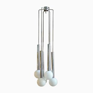 Space Age Chrome Cascade Ceiling Lamp with Opaline Glass Globes from Staff, 1970s