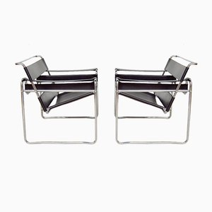 Black Leather Wassily Lounge Chairs by Marcel Breuer, 1970s, Set of 2